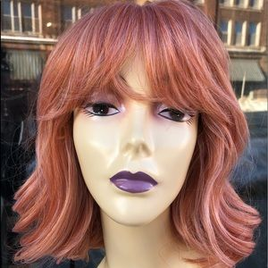 Coral salmon pastel orange bob cute wavy anime wig